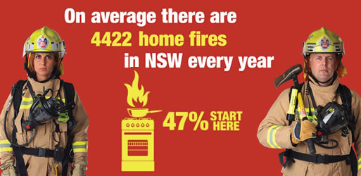 On average there are 4422 home fires in NSW every year. 47 percent start in the kitchen.