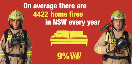 On average there are 4422 home fires in NSW every year. 9 percent start in the living room.