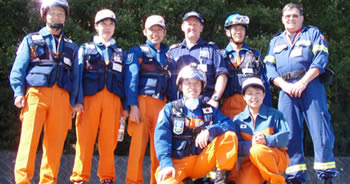 Japan Disaster Relief Team trainees with Mick and Gary