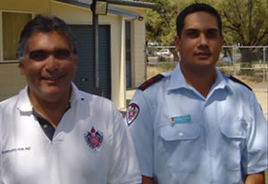 NSWFB Aboriginal Services Officer Terry Hill with newly appointed Captain Rodney Thorne