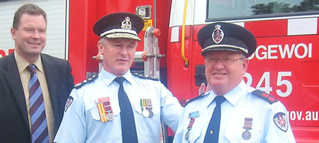 L to R: Minister for Emergency Services Nathan Rees, NSWFB Commissioner Greg Mullins and Captain Bruce Simpson, Photo by Maria James, Events Coordinator