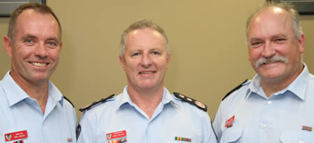 L to R: Inspector Rob Jansen, Commissioner Greg Mullins and Inspector Murray West
