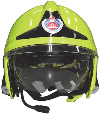 A photo of a standard FRNSW yellow structural firefighting helment